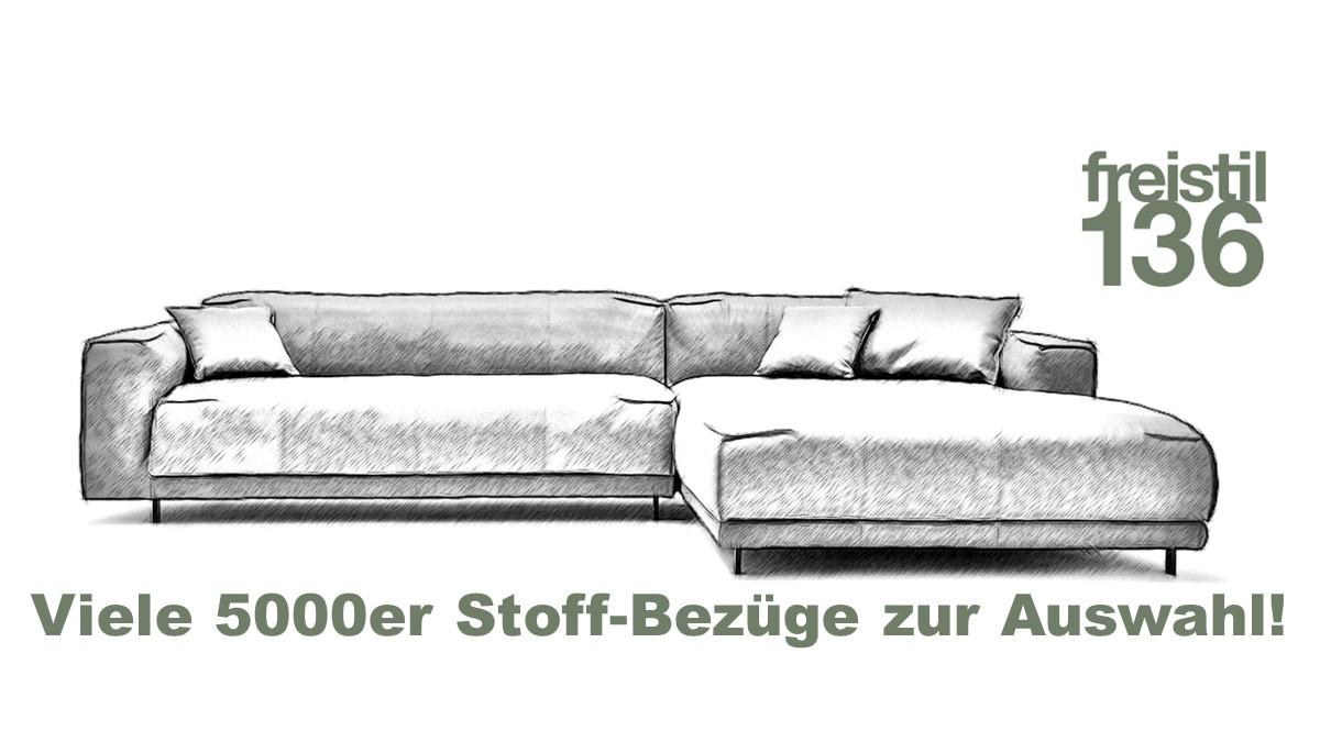 freistil 136 Sofa mit XL-Longchair im 5000er Stoff konfigurieren