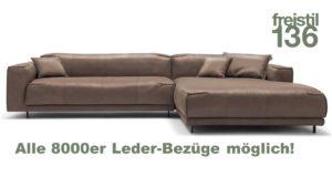 freistil 136 Sofa mit XL-Longchair im 8000er Leder jetzt konfigurieren