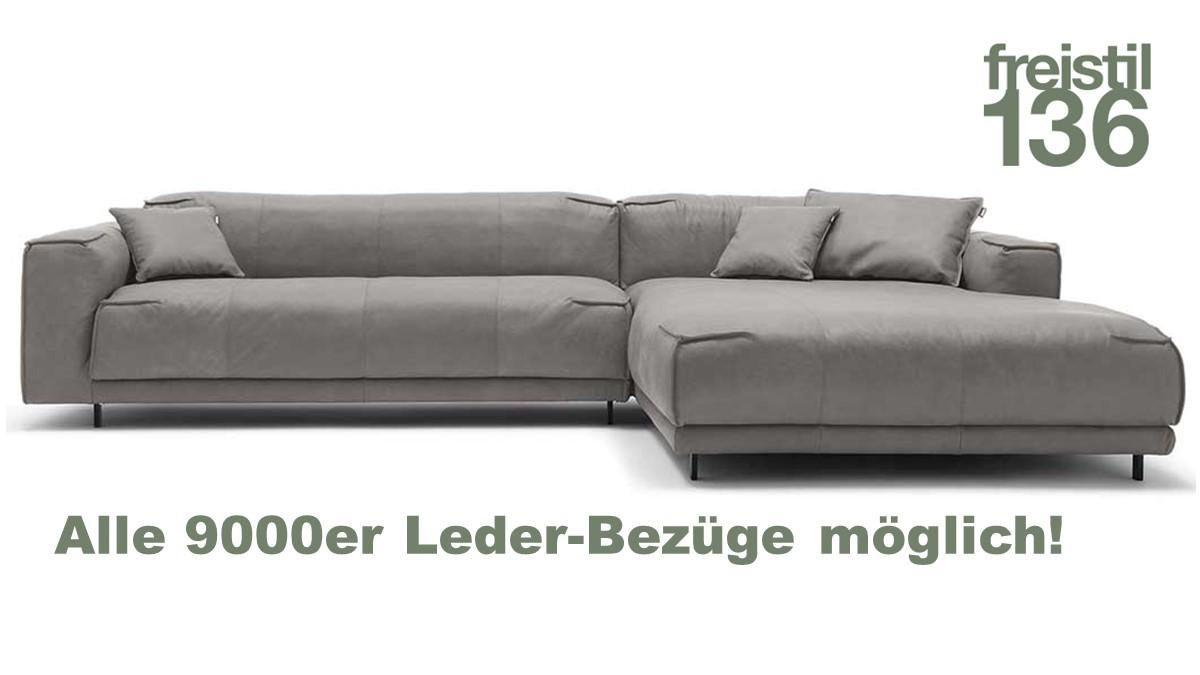 freistil 136 Sofa mit XL-Longchair im 9000er Leder jetzt konfigurieren