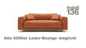 freistil 136 Sofabank 3-sitzig im 9200er Leder-Bezug