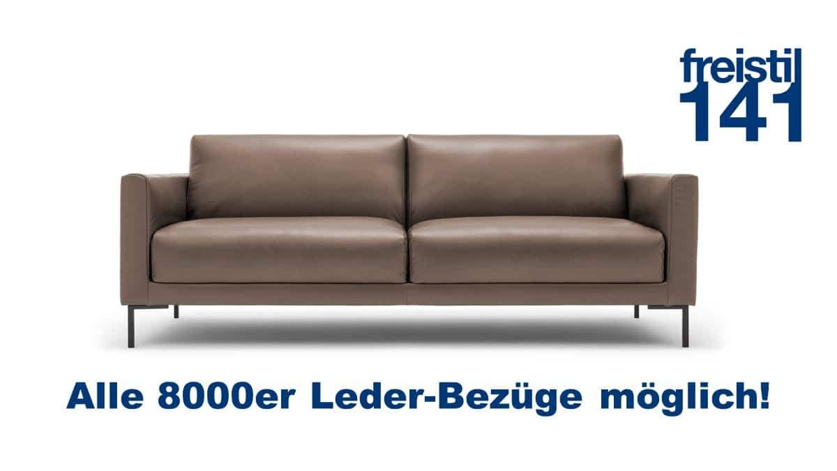 freistil 141 Sofabank in Leder in der Breite 214 cm