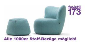 freistil 173 Sessel und Pouf im Set - Alle 1000er Stoff-Bezüge möglich
