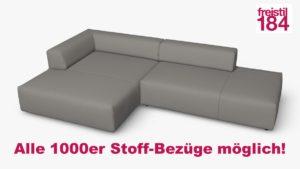 freistil 184 Sofa mit Longchair links Alle 1000er Stoff-Bezüge möglich