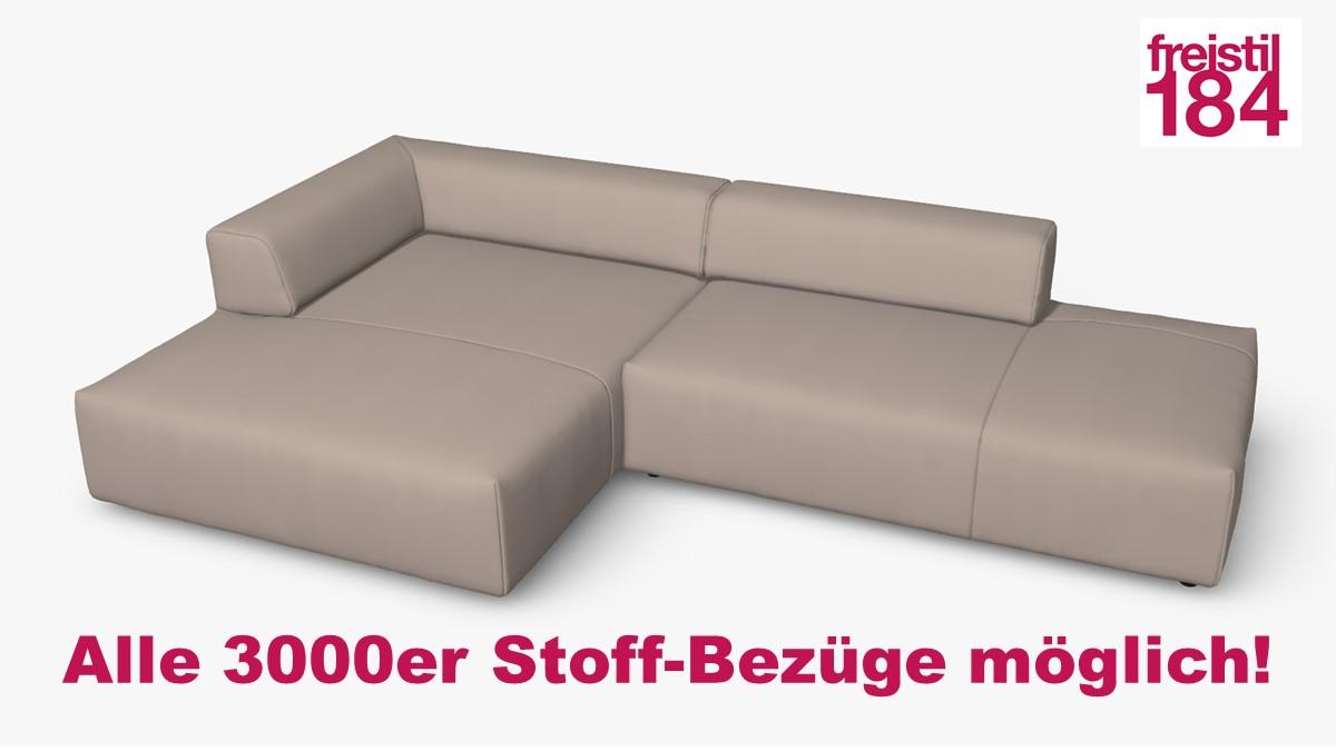 freistil 184 Sofa mit Longchair links Alle 3000er Stoff-Bezüge möglich