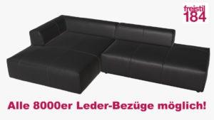 freistil 184 Sofa mit Longchair links Alle 8000er Leder-Bezüge möglich