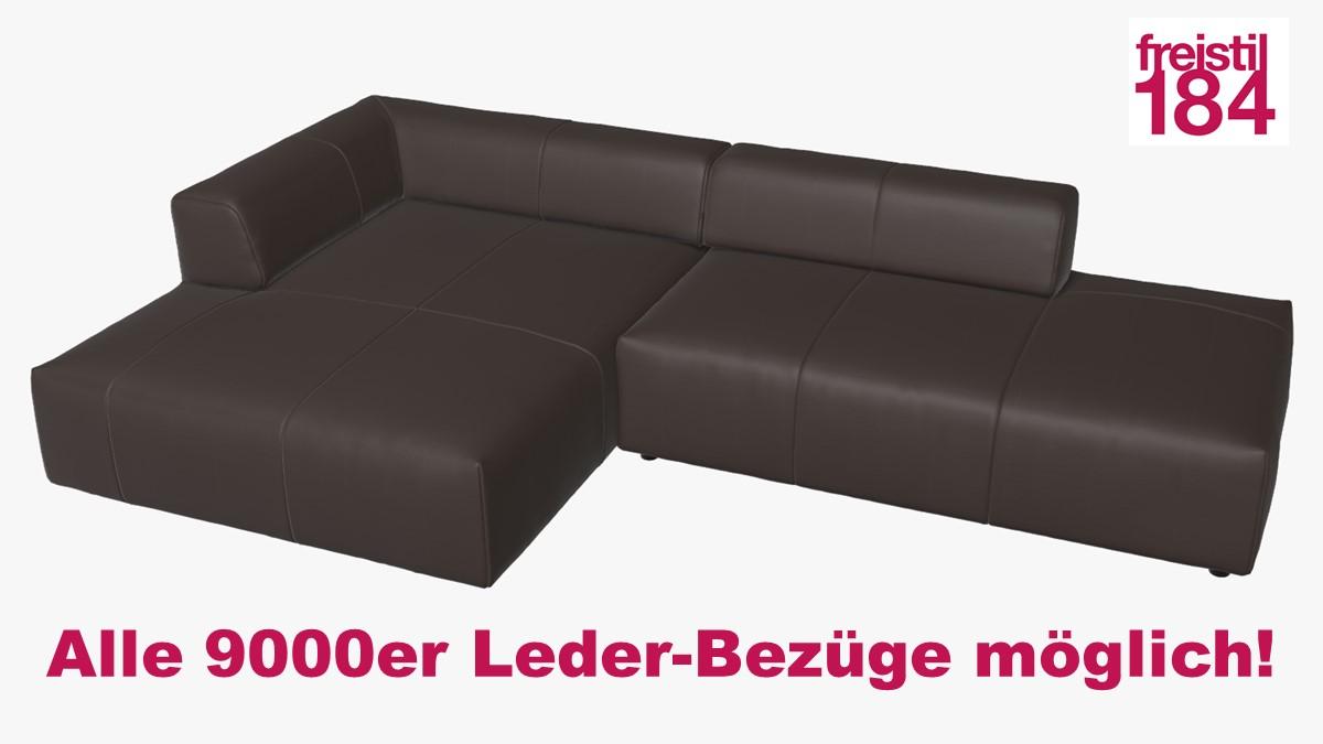freistil 184 Sofa mit Longchair links Alle 9000er Leder-Bezüge möglich