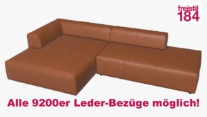 freistil 184 Sofa mit Longchair links Alle 9200er Leder-Bezüge möglich