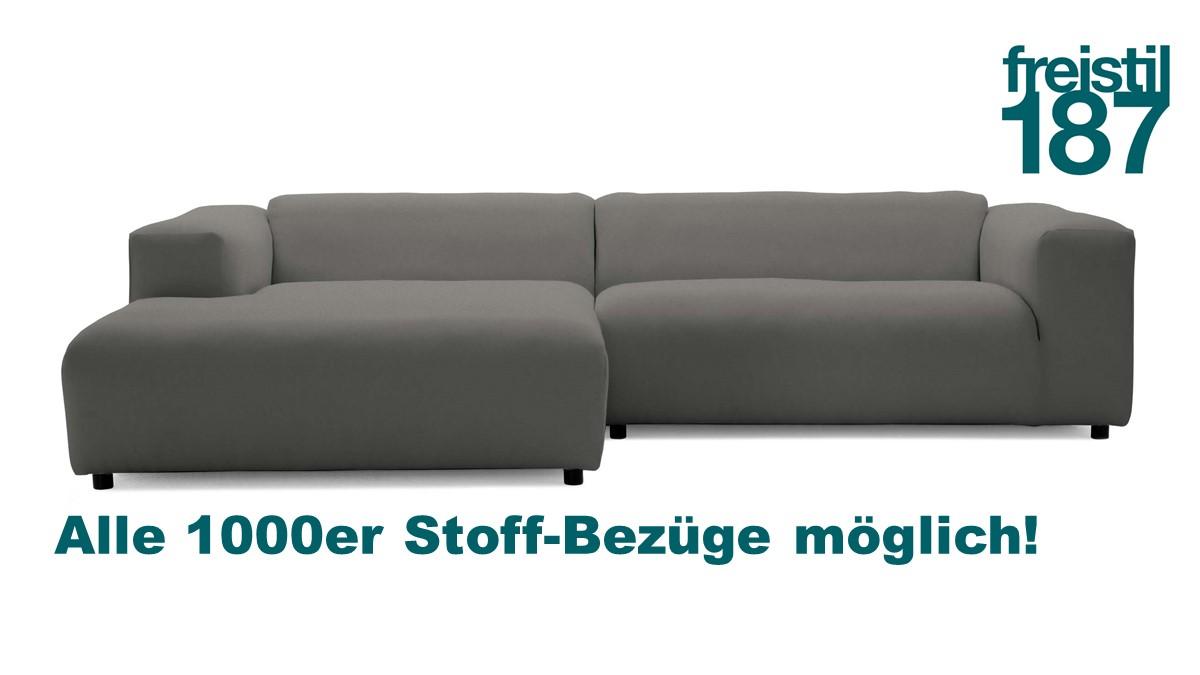 freistil 187 Kombination Sofa mit Longchair links in allen 1000er Stoffen konfigurierbar