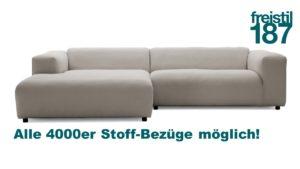 freistil 187 Lounge-Sofa mit Longchair links - jetzt in allen 4000er Stoffen konfigurierbar