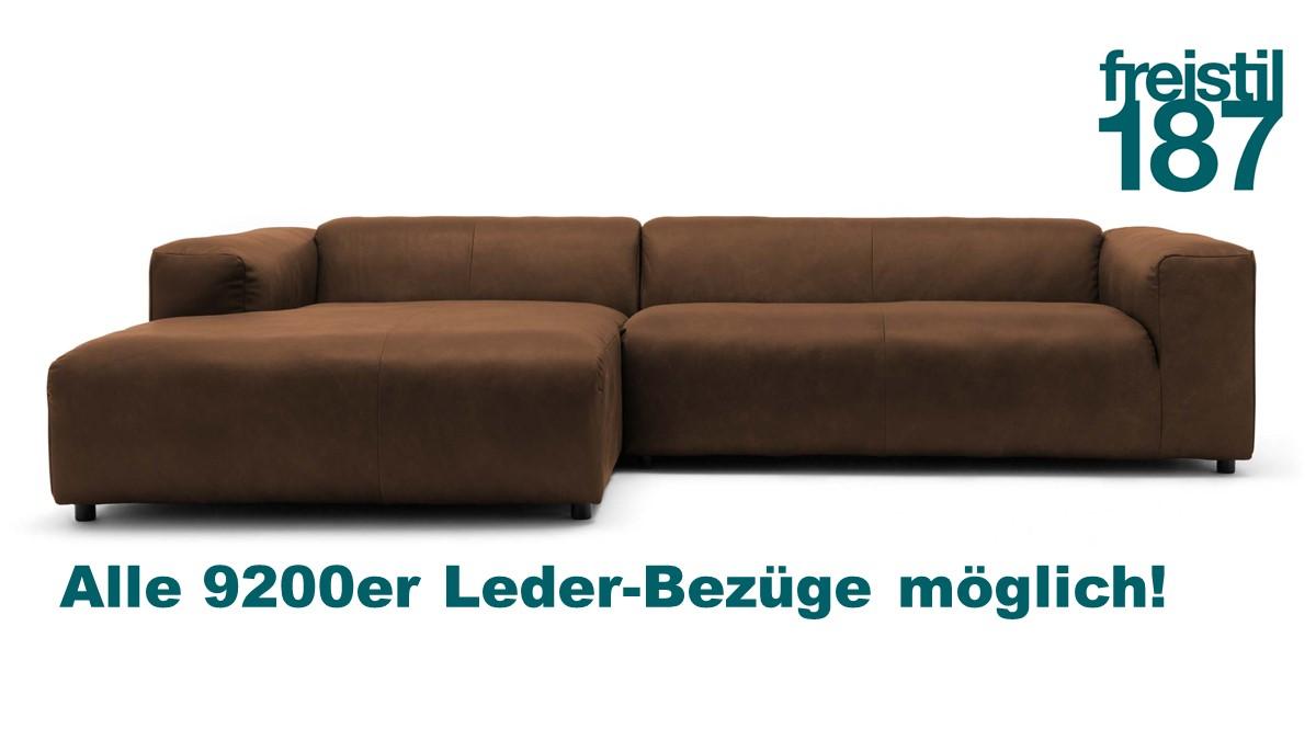 freistil 187 ROLF BENZ Sofa mit Longchair links in allen 9200er Leder-Bezügen konfigurierbar