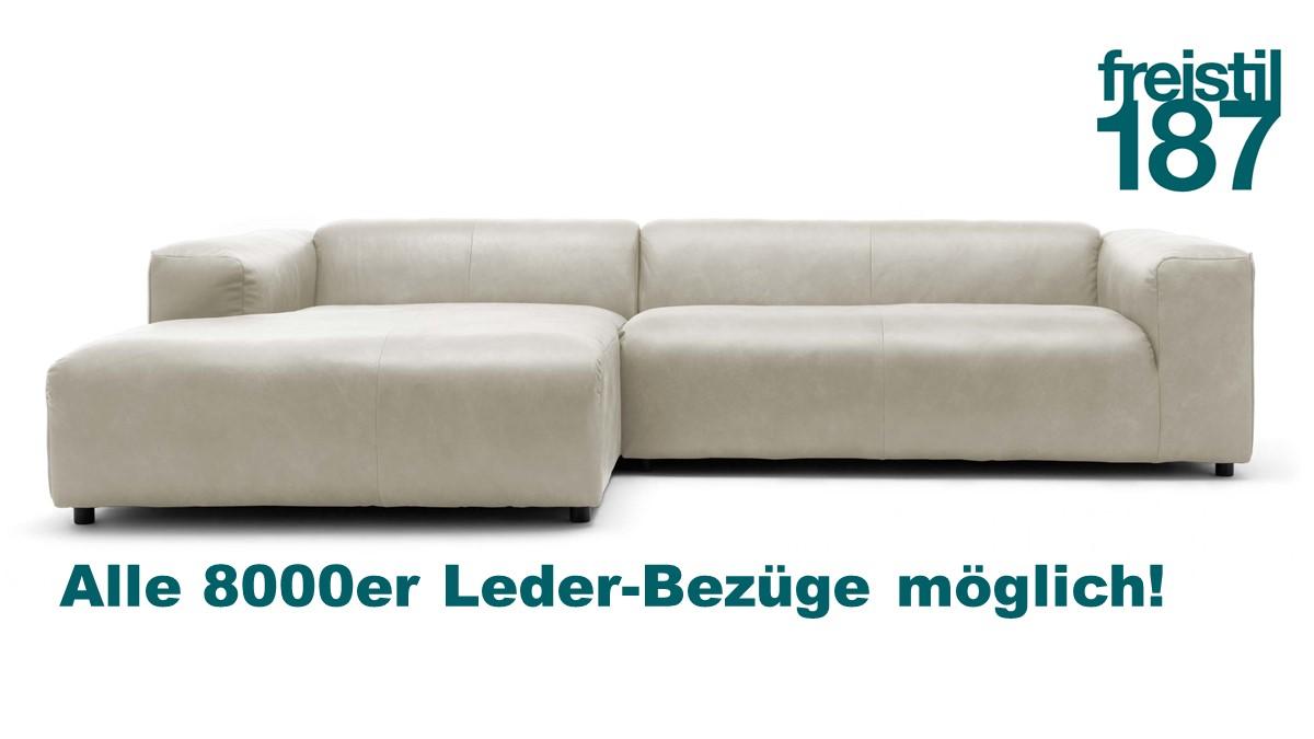 freistil 187 ROLF BENZ Sofa mit Longchair links jetzt in alen 8000er Ledern konfigurierbar