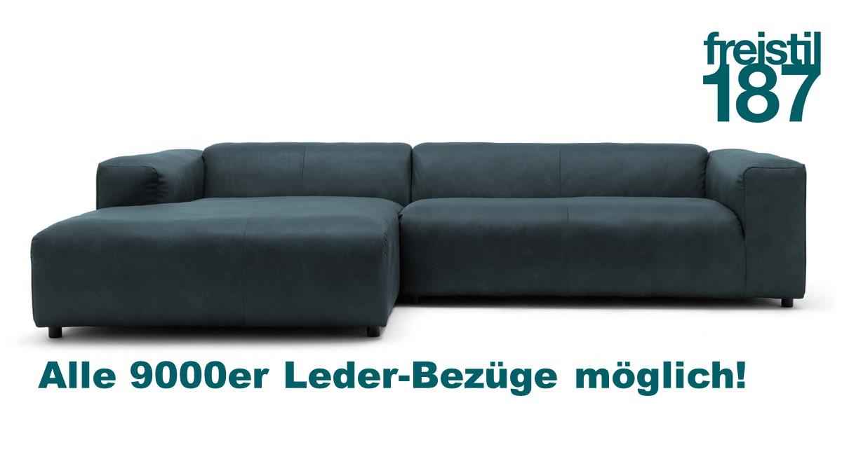 freistil 187 Sofa mit Longchair links jetzt in allen 9000er Leder-Bezügen konfigurierbar