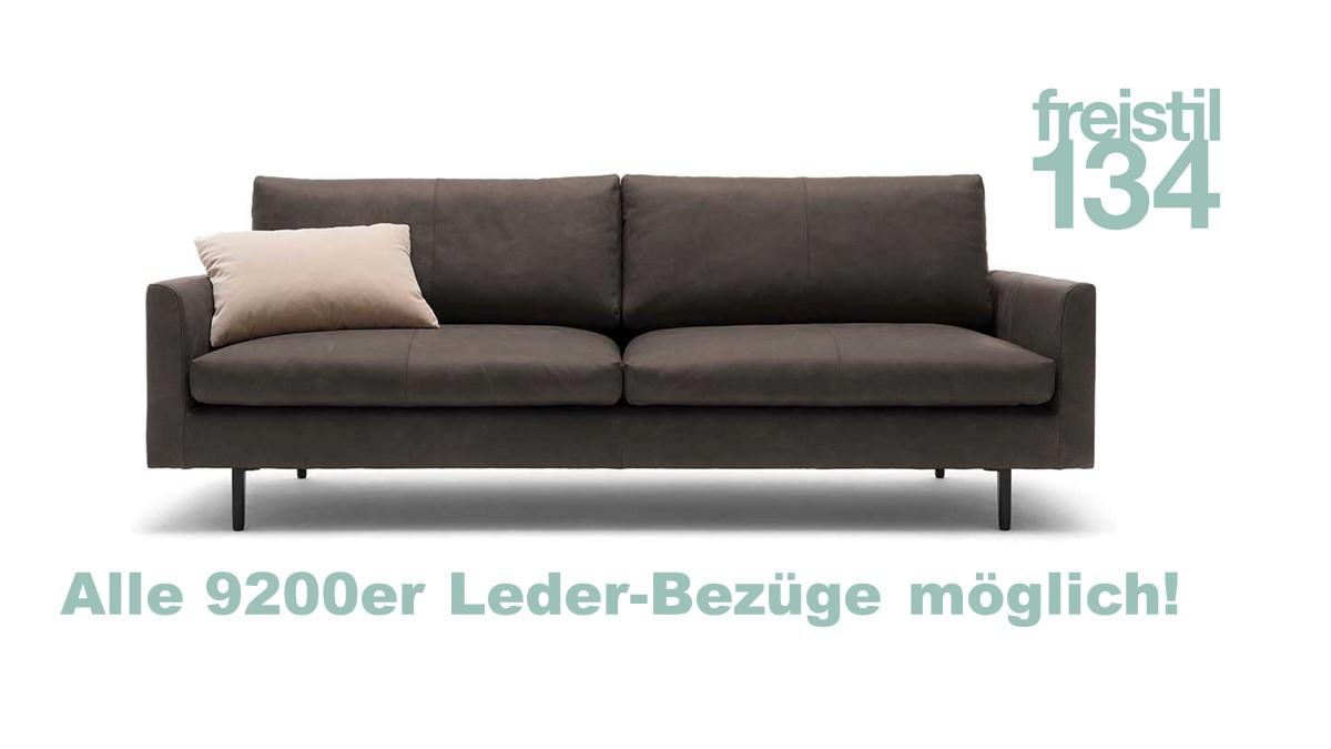 freistil Sofabank 3 sitzig in der Breite 222 cm in allen 9200er Leder-Bezügen konfigurierbar