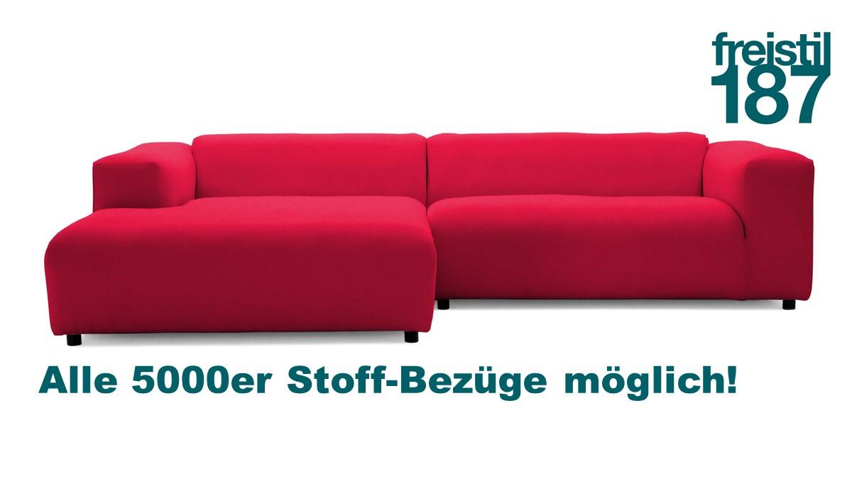 freistil187 Lounge-Sofa mit Longchair links jetzt in allen 5000er Stoffen konfigurierbar