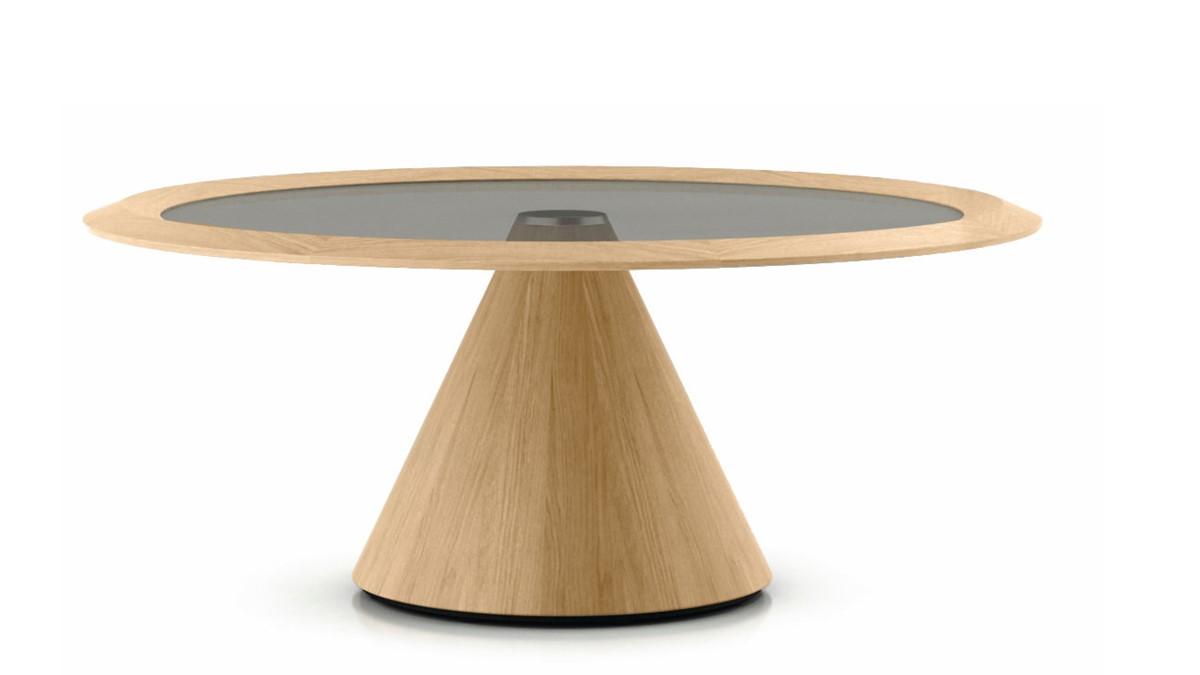 hülsta SOLID Lounge-Tisch mit Säulenfuß-Gestell Ausführung Eiche natura massiv geölt
