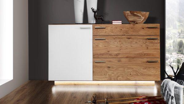 SCHROEDER Kitzalm Montana Sideboard mit 1 Türe und 3 Schubladen mit Beleuchtung