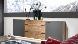 SCHRÖDER Kitzalm MONTANA Sideboard mit 2 Türen und 3 Schubladen - Akzent Schiefergrau