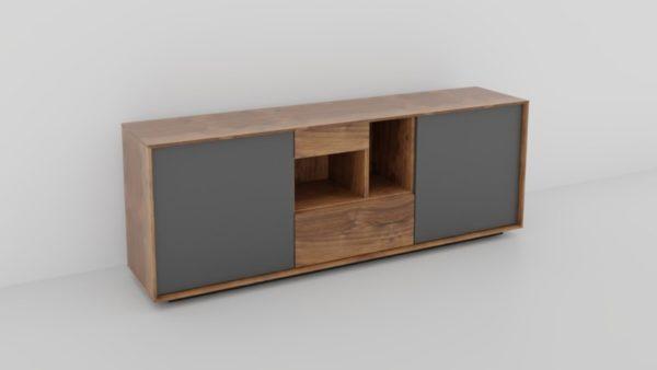 VENJAKOB Quanto Sideboard 9254 in der Ausführung Colorado Nussbaum, Akzent Lack anthrazit matt