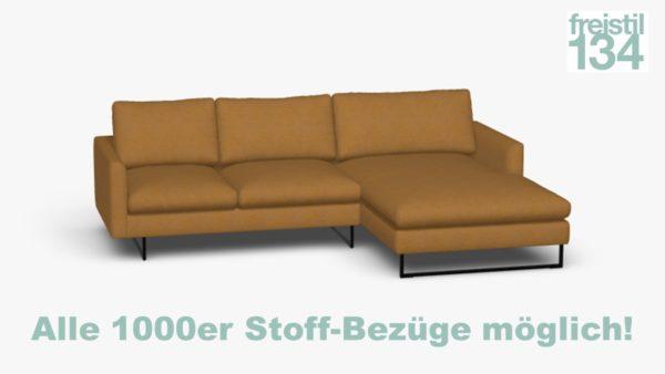 freistil 134 Sofa mit Longchair rechts Alle 1000er Stoff-Bezüge möglich!