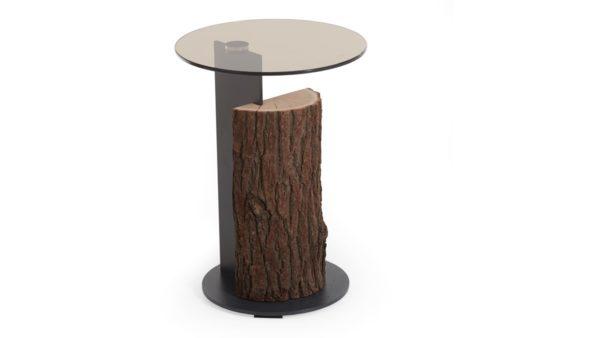 Naturstücke Beistelltisch Holzsäule mit Rinde, Ablageplatte Glas, Untergestell Metall anthrazit